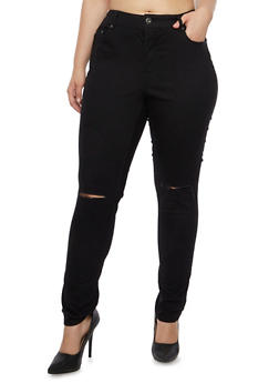 Plus Size Highway Jeans High Waisted Skinny Jeans - 3870071310928
