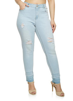 Plus Size Highway Skinny Jeans with Released Hem - 3870071319330
