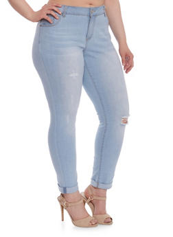 Plus Size WAX Skinny Distressed Jeans - 3870071610021