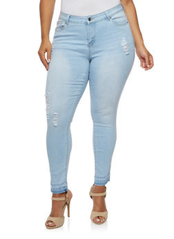 Plus Size WAX Distressed Skinny Jeans with Unfinished Cuffs - 3870071610049