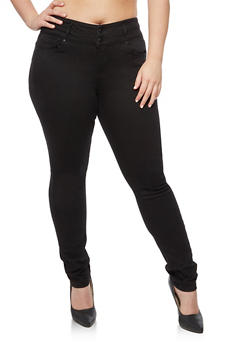 Plus Size WAX 2 Button Push Up Skinny Jeans - 3870071610065