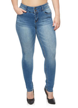 Plus Size WAX 2 Button Push Up Skinny Jeans - MEDIUM WASH - 3870071610065