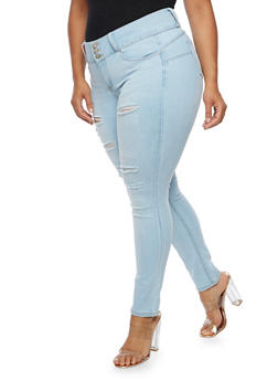 Plus Size WAX Push Up Ripped Jeans - 3870071610067