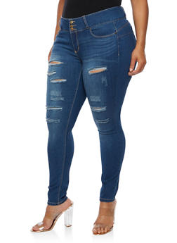 Plus Size WAX Push Up Ripped Jeans - MEDIUM WASH - 3870071610067