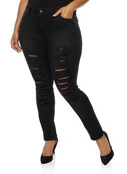Plus Size WAX Distressed Skinny Jeans - BLACK - 3870071610071