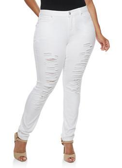 Plus Size WAX Distressed Skinny Jeans - WHITE - 3870071610071