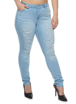 Plus Size WAX Jeans Distressed Skinny Jeans - 3870071610071
