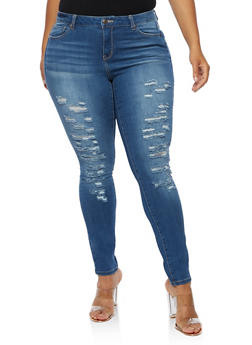 Plus Size WAX Distressed Skinny Jeans - 3870071610071