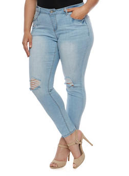 Plus Size Wax Skinny Jeans with Ripped Knees - 3870071610072