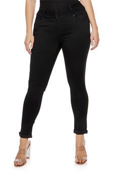 Plus Size 3 Button Push Up Jeans - 3870071610084