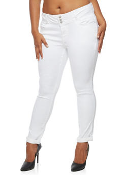 Plus Size 3 Button Push Up Jeans - 3870071610084