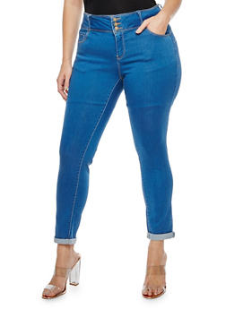 Plus Size 3 Button Push Up Jeans - MEDIUM WASH - 3870071610084