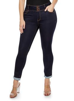 Plus Size 3 Button Push Up Jeans - DARK WASH - 3870071610084