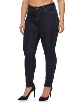 Plus Size Wax Classic Skinny Jeans - DARK WASH - 3870071610099