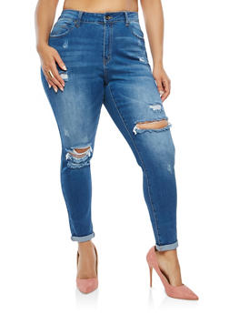 Plus Size WAX Distressed Denim Jeans - 3870071610120