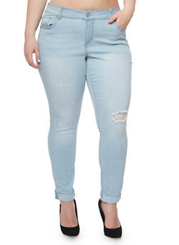 Plus Size WAX Cuffed Skinny Jeans with Distressed Knee - 3870071610121