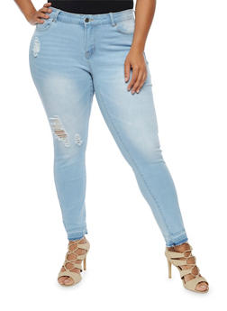 Plus Size WAX Destroyed Skinny Jeans - 3870071610149