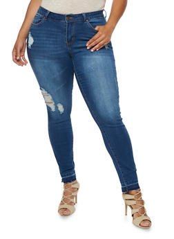 Plus Size WAX Destroyed Skinny Jeans - MEDIUM WASH - 3870071610149