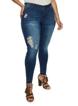Plus Size WAX Destroyed Skinny Jeans - DARK WASH - 3870071610149