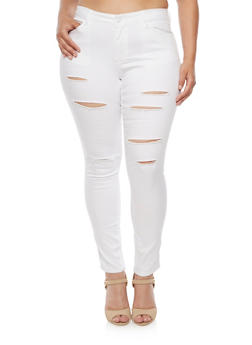 Plus Size WAX Slashed Skinny Jeans - 3870071610902
