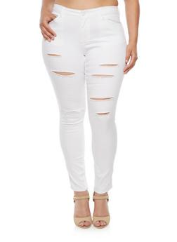Plus Size WAX Slashed Skinny Jeans - 3870071610902