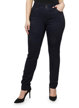 Plus Size WAX Two Button Skinny Jeans - 3870071610948
