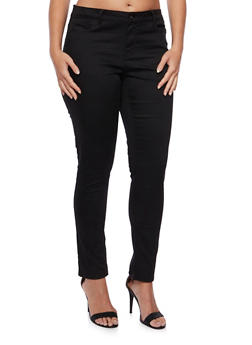 Plus Size Wax Jeans with Classic Five Pocket Design - 3870071613100