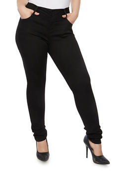 Plus Size WAX Skinny Jeans with Three Buttons - 3870071613400