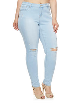 Plus Size WAX Skinny Jeans with Slash Cut Knees - 3870071613500