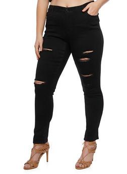 Plus Size WAX Skinny Distressed Jeans - 3870071619002