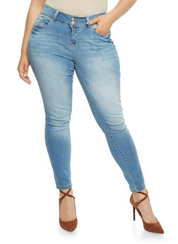 Plus Size Wax 2 Button Skinny Jeans - 3870071619051