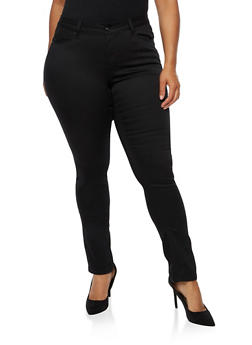 Plus Size WAX Push Up Skinny Jeans - BLACK - 3870071619310