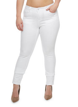 Plus Size WAX Push Up Skinny Jeans - WHITE - 3870071619310