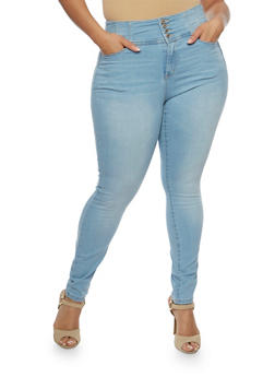 Plus Size WAX Whisker Wash Push Up Jeans - 3870071619360