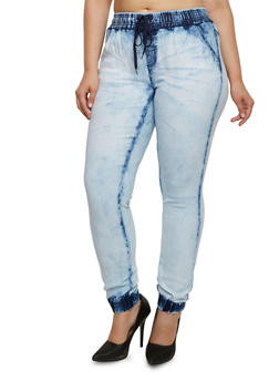 Plus Size Acid-Wash Joggers with Four Pockets - 3870072290272