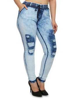 Plus Size Bleach-Wash Joggers with Rip and Repair Details - 3870072290309