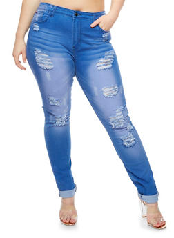 Plus Size Faded Destroyed Jeans - 3870072290364