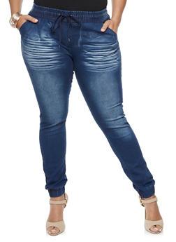 Plus Size Denim Joggers - INDIGO - 3870072292272