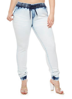 Plus Size Denim Joggers - 3870072292272
