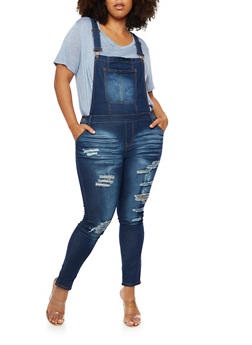 Plus Size Destroyed Overalls - 3870072292961