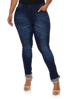 Plus Size Whisker Wash Moto Jeans - INDIGO - 3870072293601