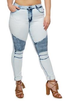 Plus Size Whisker Wash Moto Jeans - LIGHT MARBLE - 3870072293601