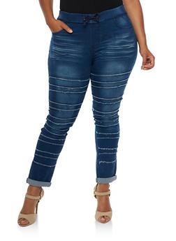 Plus Size Frayed Skinny Jogger Pants - MEDIUM BLUE - 3870072293921