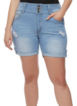 Plus Size Tabbed Roll Cuff Denim Shorts - 3871041758971