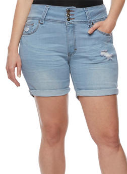 Plus Size 3 Button Cuffed Shorts - 3871041758972