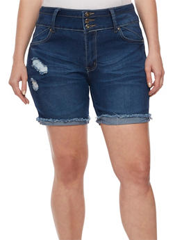 Plus Size Cuffed Whisker Wash Shorts - 3871041759870