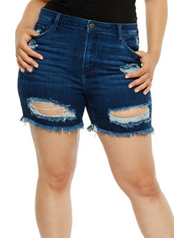 Plus Size Cello Distressed Jean Shorts - 3871063154541