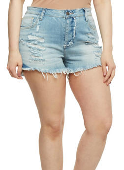 Plus Size Cello Distressed Denim Shorts with Frayed Hem - 3871063154544