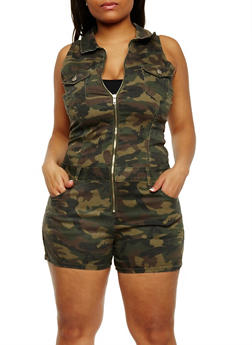 Plus Size Camouflage Zip Front Romper - 3871065309665