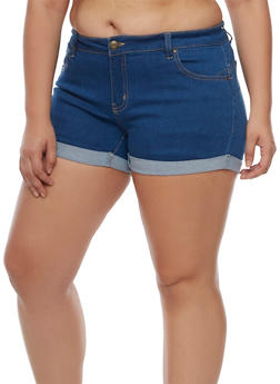 Plus Size Wax Push Up Denim Shorts - 3871071610026
